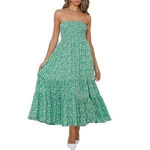 Zesica Mint Green Boho Floral Strapless Maxi Dress